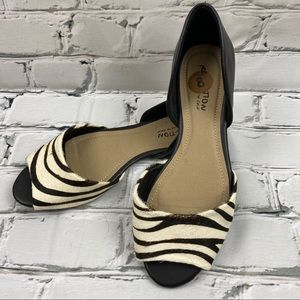 NWT Kenneth Cole leather and zebra pony hair flats